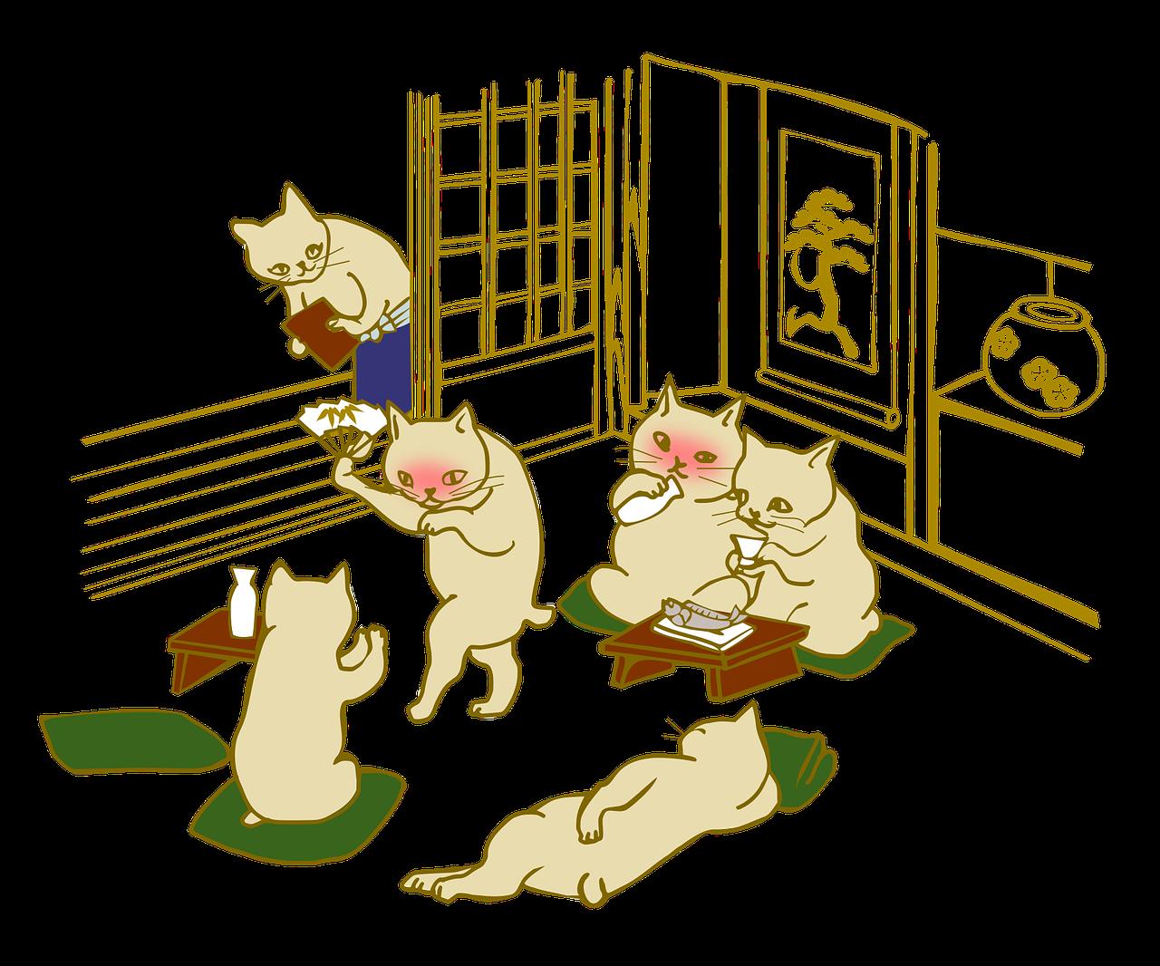 酔っぱらった猫(イラスト)